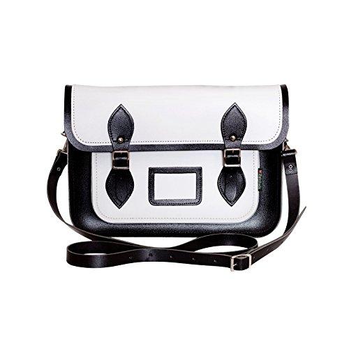 Zatchels Damen Leder Schultertasche / Satchel, zweifarbig, handgefertigt in Großbritannien Weiß/Schwarz