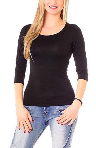 Damen 3-4 Arm Basic Rundhals Shirt Sleeve 3/4 Ärmel in vielen Farben T-Shirt Langarm einfarbig - Schwarz M-38 (Shirt Sleeve 3/4 Schwarz)