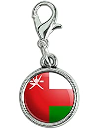 Antik Armband Anhänger Charm Zipper Pull Anhänger mit Karabinerverschluss Land National Flagge o-s Oman National Country Flag