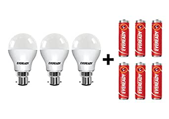 Eveready B22D Base 7-Watt LED Bulb (Pack of 3, Cool Day Light) with Free 6 1015 AA carbon zinc batteries
