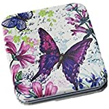 Pink Flamingo Rectangular Butterfly Motif Double Sided Compact Mirror (Purple Pink Blue)