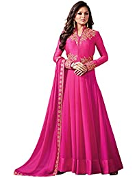 AnK Women's Pink Georgette Semi Stitched Long Anarkali Suit With Dupatta