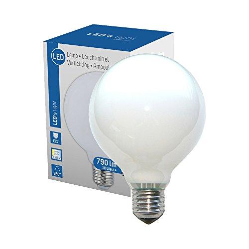 LED 360° Globe Glühbirne G95 10W = 60W E27 matt opal 790lm Glühlampe Sparlampe warmweiß 2700K (Globe-skala)
