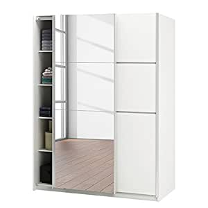 armoire 2 portes coulissantes glassy blanc avec 1 miroir. Black Bedroom Furniture Sets. Home Design Ideas