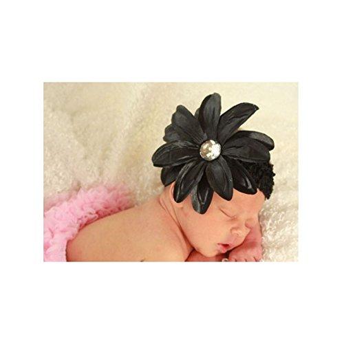 Bandeau+barrette bébé/fille, modèle Tropicale Noir