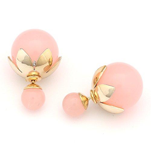 Idin Jewellery-Orecchini doppia perla rosa in resina con sfera oro foglia perline tappo ear Studs (circa 8e 18mm)