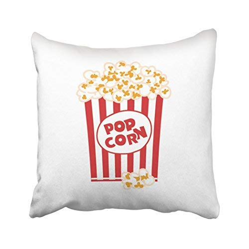 GFGKKGJFD313 Home Decor Kissenbezug, 45,7 x 45,7 cm, rote Tasche, Popcorn-Box, weiß, großer Eimer, Pappe, Kinofarbe, dekorative quadratische Kissenbezüge für Sofa, Wohnaccessoire, Geschenke