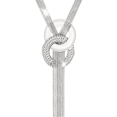 Contever® Donne Alloy Catenina Collana di cristallo collana Chain Statement (Argento)