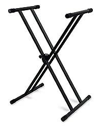 Classic Cantabile Doppelstrebiger Keyboardständer - 5-Fach Höhenverstellbares Keyboard Stativ - Stabiler Keyboard Stand Doppel - Stand für E-Piano Stagepiano - Klavier Halterung Schwarz