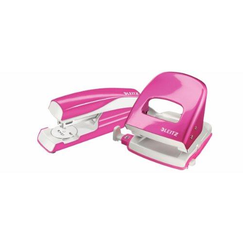Esselte Leitz Locher NeXXt 5008 und Heftgerät NeXXt 5502 im Set, pink metallic (Set Locher)