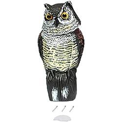 leoboone Realista Decoy búho con la rotación de la Cabeza Protección de jardín Repelente de Aves de plagas scarer espantapájaros Caza Señuelos para Hunter