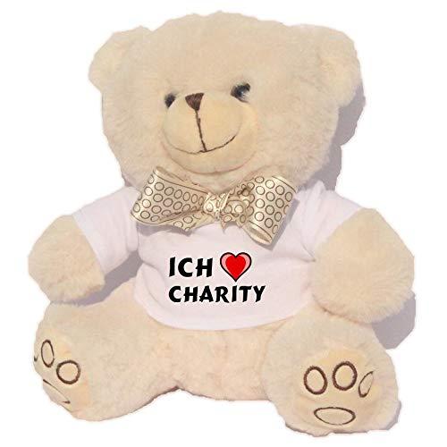 SHOPZEUS Personalisierter Weiß Bär Plüschtier mit T-Shirt mit Aufschrift Ich Liebe Charity (Vorname/Zuname/Spitzname) -