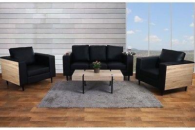 3-1-1 Sofa Couch schwarz Sofagarnitur Couchgarnitur Eiche Optik modern design (Couchgarnitur Schwarz Moderne)