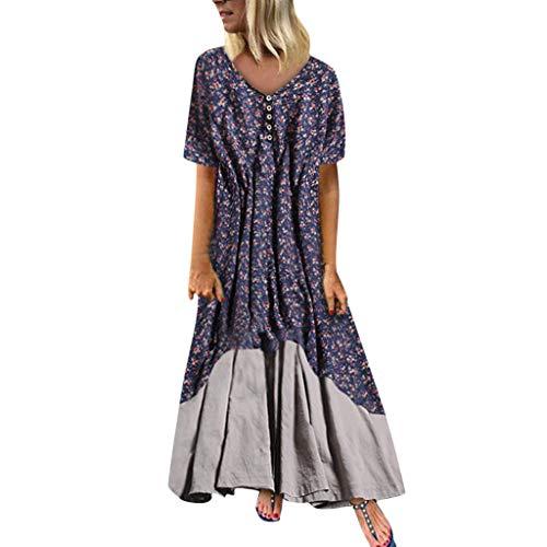 LILIHOT Frauen Plus Size Maxi Kleid Vintage Patchwork Kleid Beiläufige Lose Boho Strandkleid Lange Retro Sommerkleid Elegant Partykleid Floral Print Casual Mini Dress