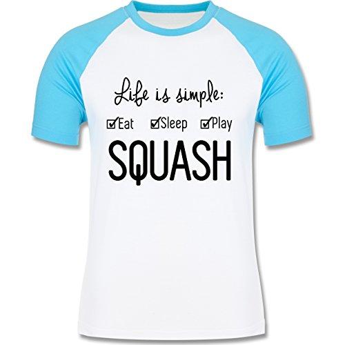 Tennis - Life is simple Squash - zweifarbiges Baseballshirt für Männer Weiß/Türkis