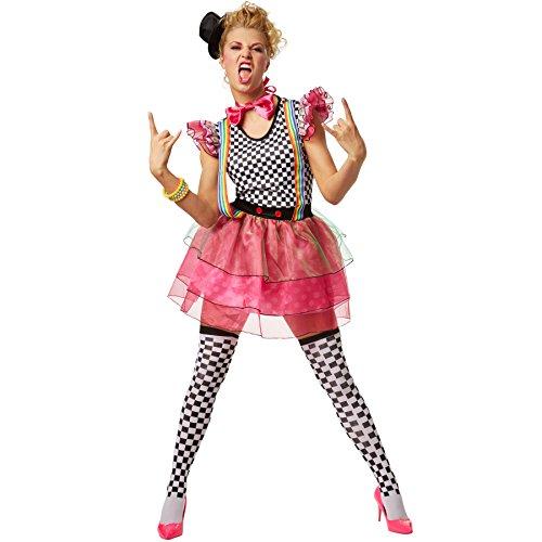 dressforfun Frauenkostüm Neon Clown | Schrill-Buntes Einteiler Kleid | inkl. Hütchen mit Haarklammer Zum Befestigen, Kniestrümpfe und Fliege (XL | No. - 80er Jahre Zombie Kostüm