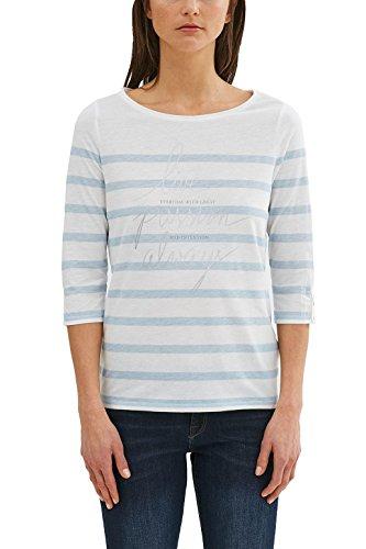 ESPRIT Damen Langarmshirt 047ee1k028 Mehrfarbig (Pastel Blue 435)