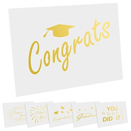 cualfec 36Stück gold Folie Graduation Karten mit Umschlägen 10,2x 15,2cm blanko Grußkarten für die Graduierung, Arztausstattung, mit 36Tropical Thank You Aufkleber