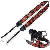 Brain Freezer J Retro Vintage National Wind Cotton Shoulder Neck Stripe Strap Belt for SLR DSLR Camera 202 (orange Black…