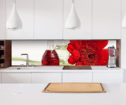 Aufkleber Küchenrückwand Blume rot Wellness Spa Feng Shui Öl Handtuch Kitchen Küche Folie Fliesen Möbelfolie Spritzschutz 22?1287, Höhe x Länge:60cm x 200cm