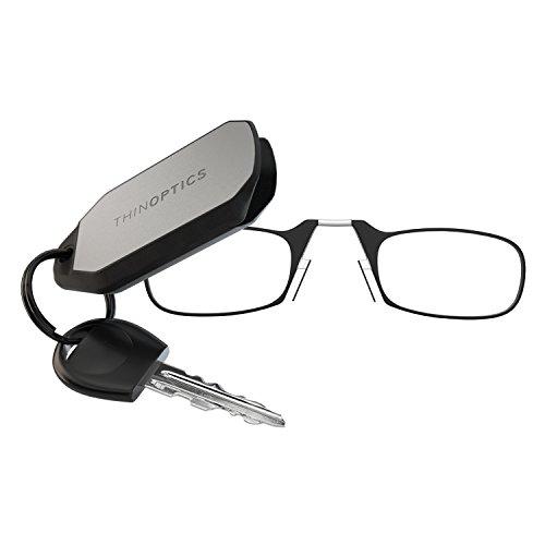 ThinOptics Las gafas de lectura con el llavero, Graduación de 2,50 dioptrías, Montura negra