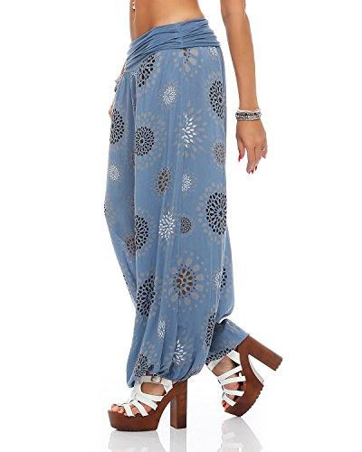ZARMEXX Damen Pumphose Pluderhose Harem-Stil Sommerhose all over Print Freizeithose Aladinhose Hose One Size Kreise-jeansblau