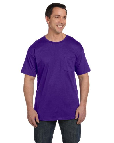 Hanes Mens Beefy-T T-Shirt With Pocket Purpur