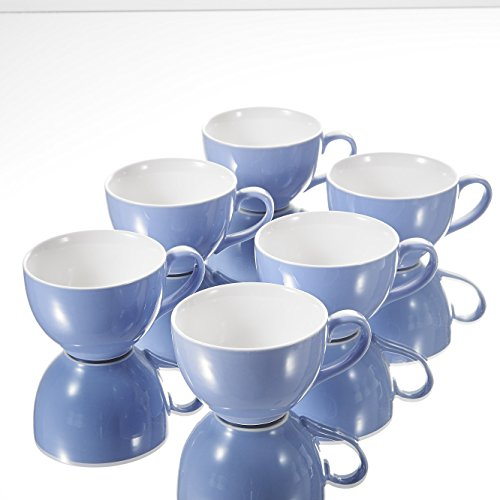 Panbado, 6er Set Kaffeetassen, Porzellan Tassen Set, 375 ml, Blau + Weiß