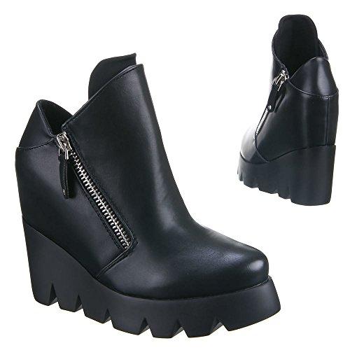 Damen Schuhe Stiefeletten Plateau Wedeges Beige Schwarz 36 37 38 39 40 41 Schwarz