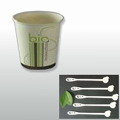 Pack bio éco pour café 100 personnes : 100 gobelets et 100 agitateurs : jetables et biodégradables