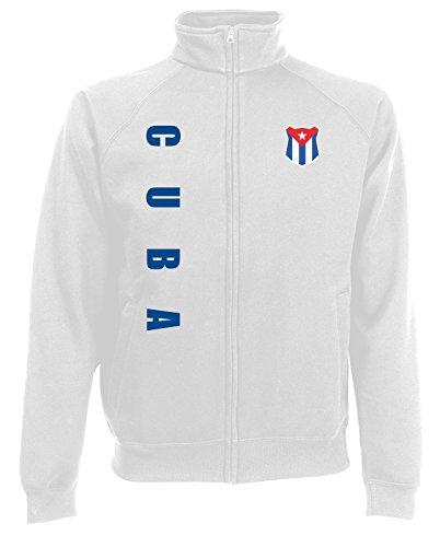 Kuba Cuba Sweatjacke Jacke Trikot Wunschname Wunschnummer (Weiß, S)