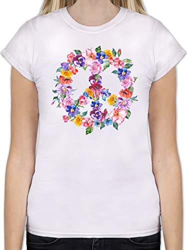 Statement Shirts - Peace Zeichen mit bunten Blumen - L - Weiß - L191 - Tailliertes Tshirt für Damen und Frauen T-Shirt -