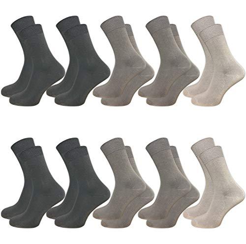 GAWILO 10 Paar Socken aus 100% Baumwolle für empfindliche Füße - ohne drückende Naht - Damen & Herren - venenfreundlicher Komfortbund (43-46, grau) -