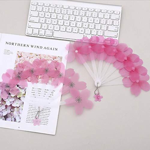 TianranRT❄ Hochzeit Fan,2 Stücke Kunststoff Blume Geformt Faltfächer Handheld Tragbare Klapp Sommer Fan (Rosa) (Kleine Leute-tee-garten)