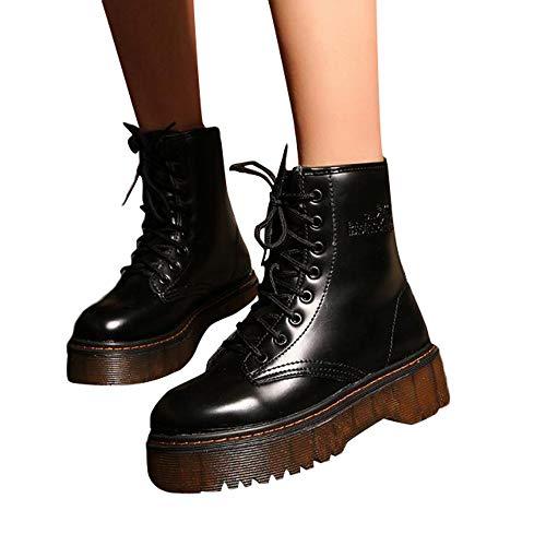 TianWlio Stiefeletten Schuhe Boots Stiefel Damen Herbst Winter Klassische Übergröße Stiefel Outdoor Schwarz Sneaker Schnüren Worker Boots Hochwertiger Stiefel Absatz Kurze Reissverschluss ()