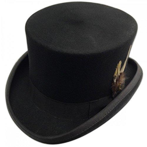 Kostüm Gentleman - shoperama Steampunk Herren Zylinder mit und ohne Federn Hut Gentleman Bräutigam Kostüm, Größe:61;Farbe:Schwarz