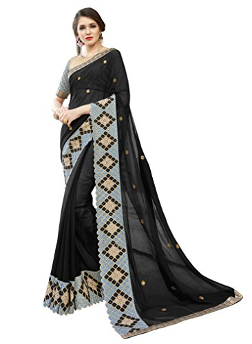 Triveni Sarees Georgette Artsilk Festival Wear Embroidered Traditional Sarees (black)