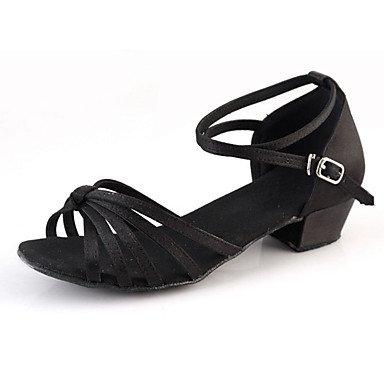 Silence @ Chaussures de danse pour femme en daim en daim latine talons Chunky Talon extérieur Noir Argent Doré noir