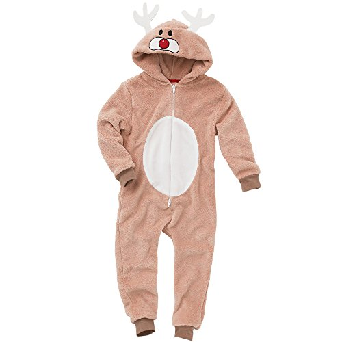 c859548cad25 Garçons Supersoft Fleece Christmas Reindeer Onesie Jumpsuit Playsuit -  Brown - 11 12 Années