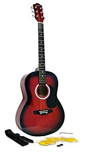 Martin Smith W-100 Acoustic Guitar Package with Strings, Plecs, Strap - Red