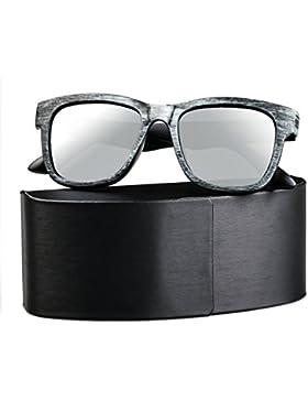 SUNVON Unisexo Transparente Gafas de Sol Polarizadas Gafas Retro Hombres Mujeres UV400