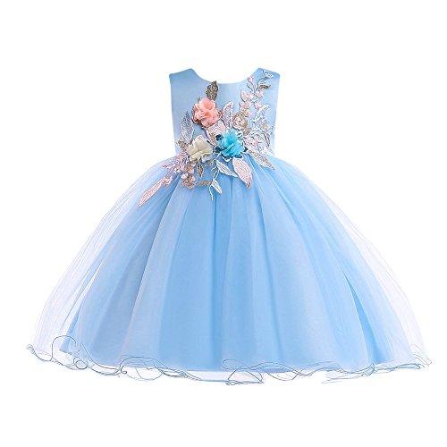 (Lazzboy Karneval Kleider Tutu Kleidung Blume Baby Mädchen Prinzessin Kleid Print Sleeveless Formelle (Höhe 110,Blau))