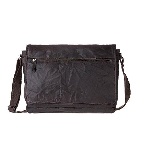 Borsa uomo a tracolla in Vera pelle stropicciata Vintage Messenger bag Porta PC DUDU Marrone scuro