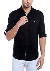 Spykar Mens Cotton Slim Fit Casual Shirt (Msh-01Ag-Es-013_Black_X-Large)