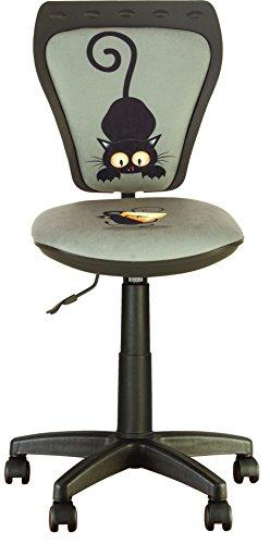 Ministyle - asiento de escritorio niño. Giratorio a 360 °. Altura ajustable. Respaldo ajustable, asiento regulable on profundidad. (GATO Y RATÓN)