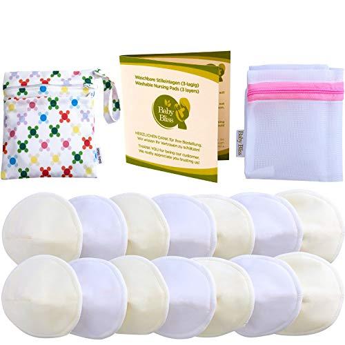 Baby Bliss Waschbare Bambus Stilleinlagen Konturiert (14er-Pack), Weiss/Beige, 12cm