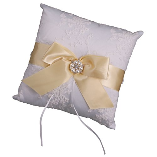 MagiDeal Ringkissen Weiß Perlen Ring Kissen Eheringe Halter Bowknot Hochzeit Brautkissen - Gold - Hochzeit Ring Gold-weiss