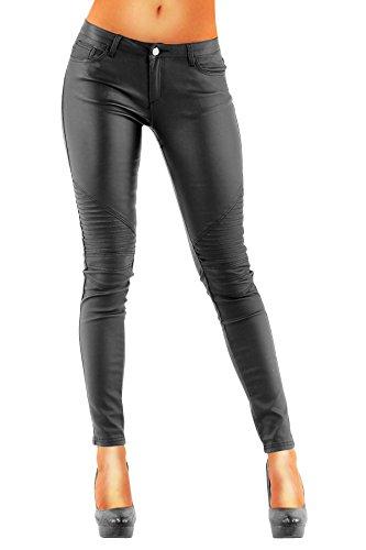 Leder Bootcut Jeans (DANAEST Damen Bootcut Kunstlederhose Skinny Style (212), Grösse:38 M;Farbe:Schwarz)
