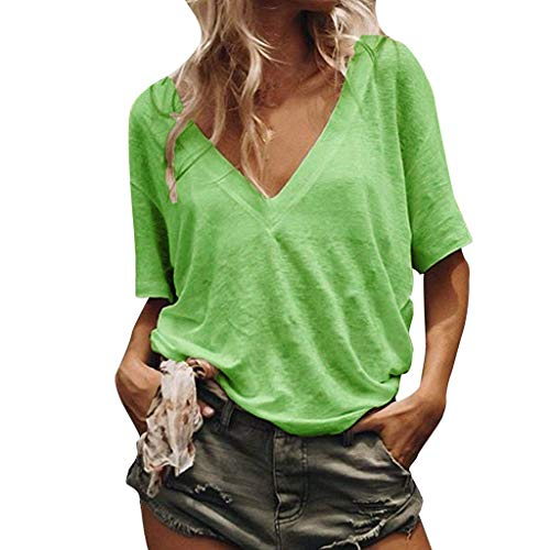 1d31b3fc0 TOPKEAL Women Loose Casual Pure Color V Neck Short Sleeves Shirt Summer T  Shirts Beach Sweatshirts