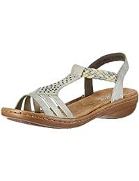 Rieker Damen 608y5 Offene Sandalen mit Keilabsatz